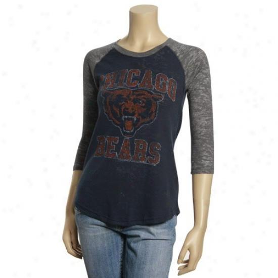 Chicago Bears T Shirt : Junk Food Chicago Bears Ladies Gray-navy Blue Distressed 3/4 Sleeve Thermal Raglan T Shirt