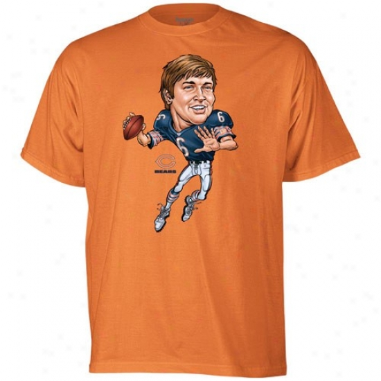 Chicago Bears T-shirt : Reebok Chicago Bears #6 Jay Cutler Orange Nfl Caricature T-shirt
