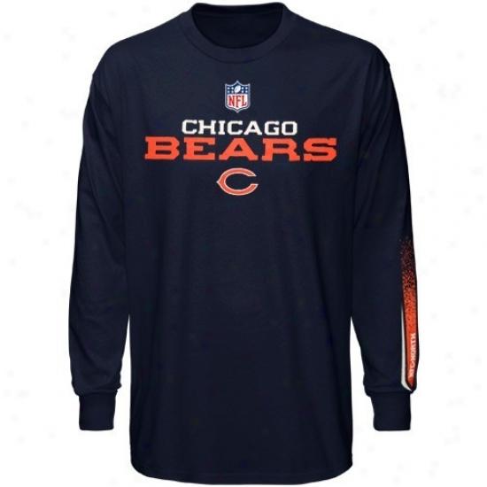 Chicago Bears T Shirt : Reebok Chicago Bears Youth Navy Blue Optimus Long SleeveT  Shirt