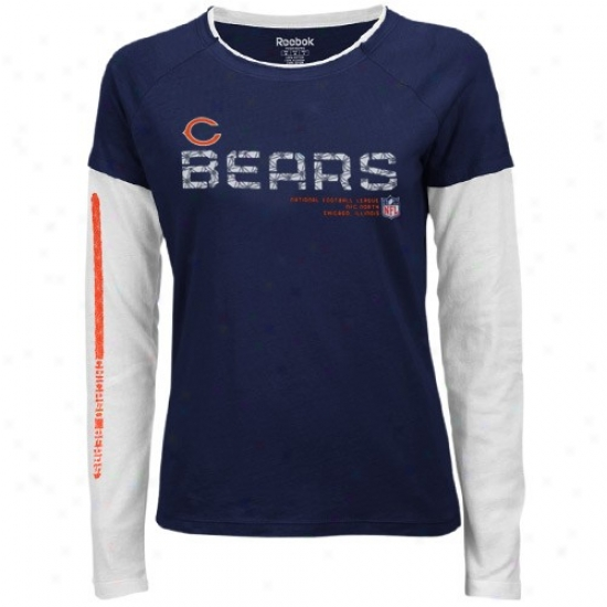 Chhicwgo Bears Tees : Reebok Chicago Bears Ladies Navy Blue Sid3line Tacon Long Sleeve Layered Tissue Tees