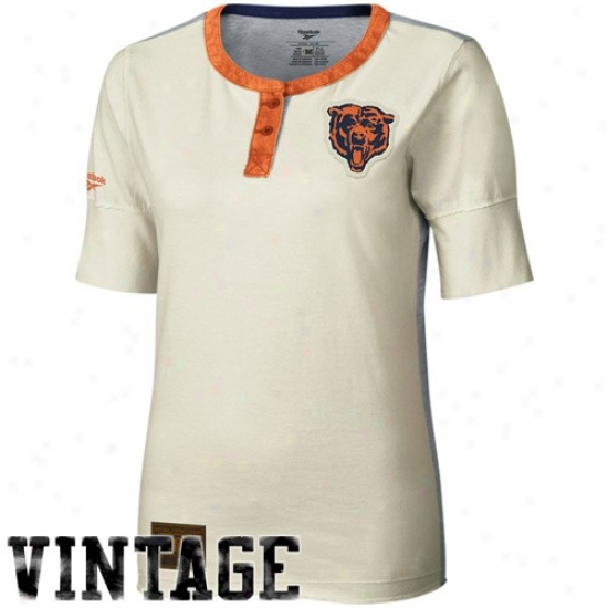 Chicago Bears Tees : Reebok Chicago Bears Ladies Cream Consrructed 1/2 Sleeve Henley Premium Tees