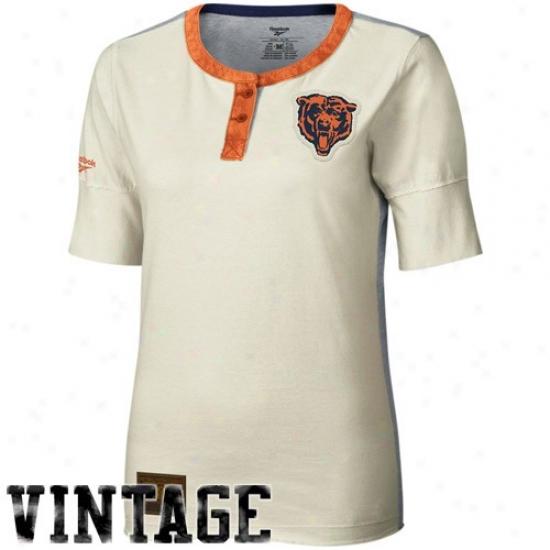 Chicago Bears Tees : Reebok Chicago Bears Ladies Cream Consrructed 1/2 Sleeve Henley Premium Tees