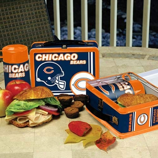 Chicago Bears Tin Lunch Box With Thermos