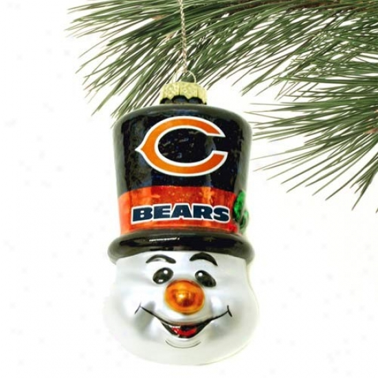 Chicago Bears Top Hat Snowman Blown Glass Ornament