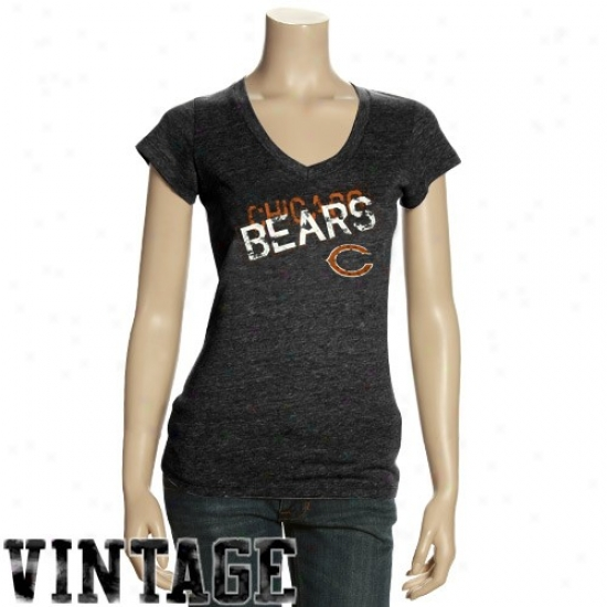 Chicago Beads Tshirt : Cihcago Bears Ladies Charcoal Triblend V-neck Vintage Tshirt