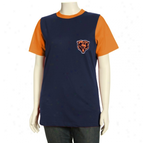 Chicago Bears Tshirts : Chicago Bears Missy Navy Blue Her Club Premium Ringer Raglan Tshirts