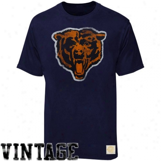 Chicago Bears Tshirts : Reebok Chicago Bears Navy Blue Bivger Better Logo Retro Sport Tshirtq