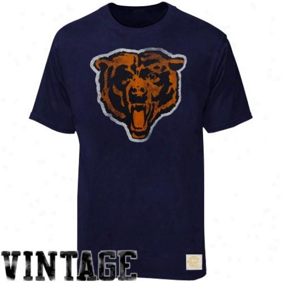 Chicago Bears Tshirts : Reebok Chicago Bears Navy Blue Bivger Better Logo Retro Sport Tshirtq
