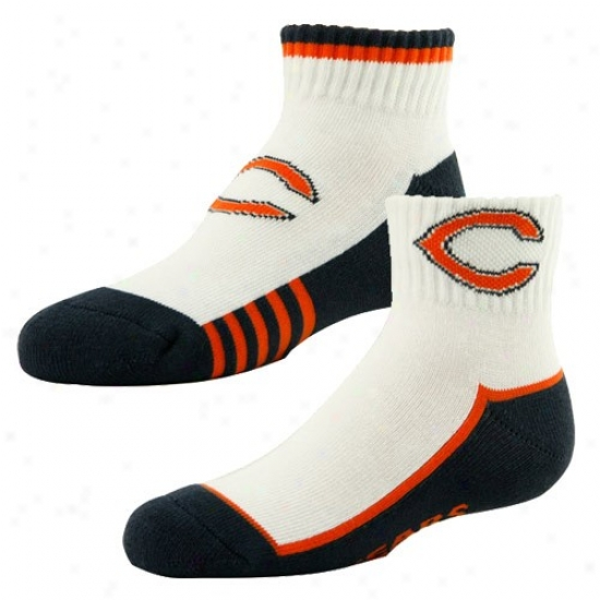 Chicago Bears Boy White-navy Blue Two-pack Socks