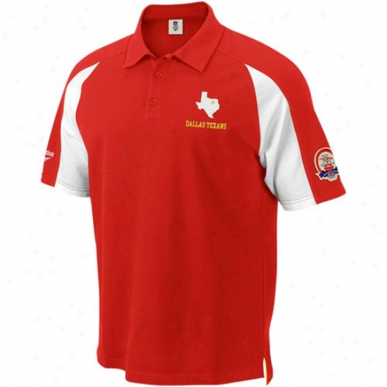 Chiefs Clothing: Reebok Dallas Texans Red Stealth Pique Polo