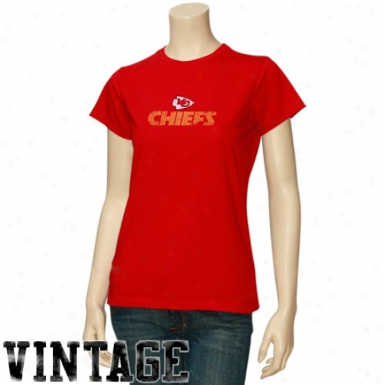 Chiefs Shirt : Chiefs Ladies Red Gutsy Hover Vintage Shirt