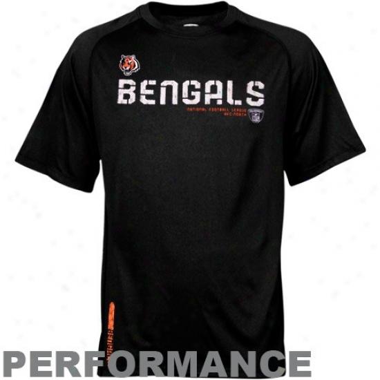 Cincinnati Bengal Apparel: Reebok Cincinnati Bengal Black Sid3line Sleedwick Performance T-shirt