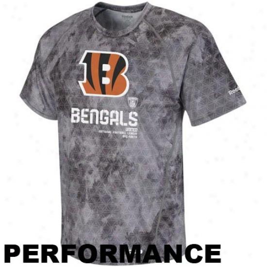 Cincinnati Bengal Attire: Reebok Cincinnati Bengal Gray-haired Sideline United Digital Print Speedwick Performance T-shirt