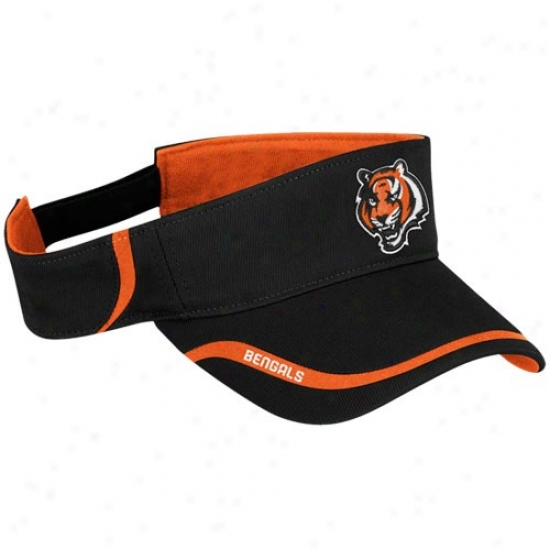Cincinnati Bwngal Caps : Reebok Cincinnati Bengal Black 2010 Coaches Adjustable Visor