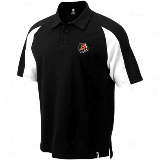 Cincinnati Bengal Clothing: Reebok Cincinnati Bengal Black Stealth Pique Polo