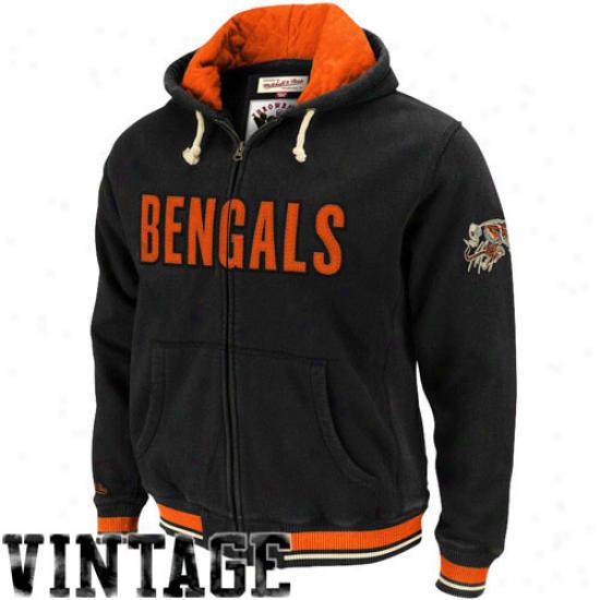 Cincinnati Bengal Fleece : Mitcyell & Ness Cincinnati Bengal Black Standing Room Premium Full Zip Fleece Jacket