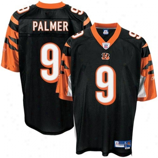 Cincinnati Bengal Jersey : Reebok Cincinnati Bengal #9 Carson Palmer Black Premium Equipment Football Jersey