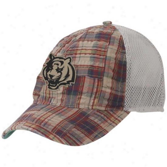 Cincinnati Bengal Merchandise: Reebok Cincinnati Bengal Plaid Mesh Back Adjustable Hat