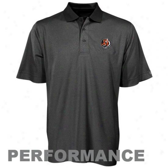 Cincinnati Bengal Polo : Cutter & Buck Cincinnati Bengal Black Drytec Birdseye Performance Polo