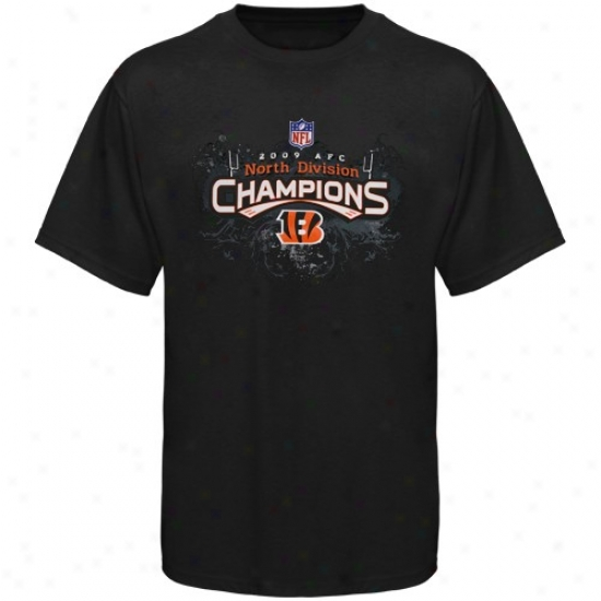 Cincinnati Bengal Shirt : Ree6ok Cincinnati Bengal Black 2009 Afc North Division Champions Locker Room Shirt