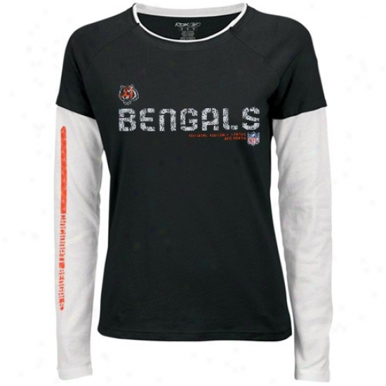 Cincinnati Bengaal Shirt : Reebok Cincinnati Bengal Ladies Black Sideline Tacon Long Sleeve Layered Tissue Shirt