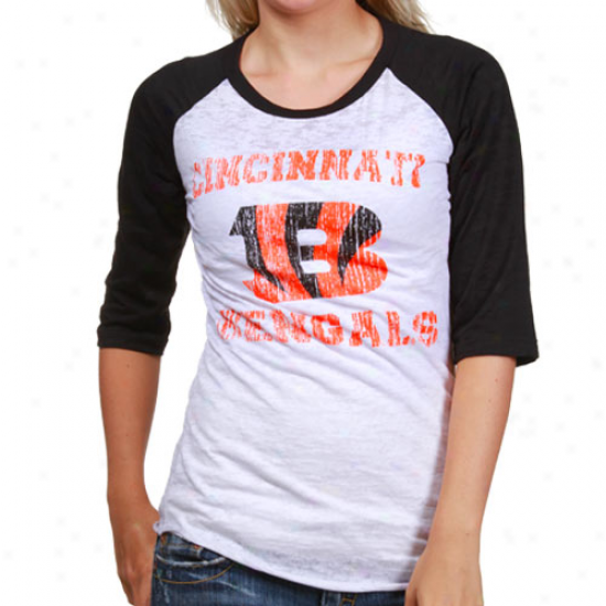 Cincinnati Bengal Shirt : Reebok Cincinnati Bengal White-black Huddle Up Raglan Burnout 1/2 Sleeve Shirt