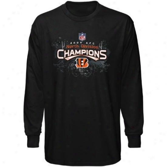 Cincinnati Bengal Shirt : Reebok Cincinnati Bengal Black 2009 Afc North Division Champions Locker Room Long Sleeve Shirt