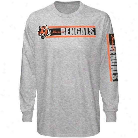 Cincinnati Bengal Shirts : Reebok Cincinnati Bengal Ash Thr Stries Long Sleeve Shirts