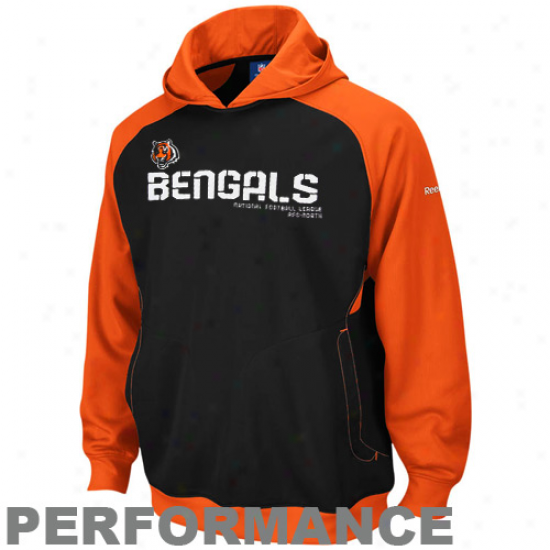 Cincinnati Bengal Sweat Shirt : Reebok Cincinnati Bengal Black-orange Sideline Performanec Pullover Sweat Shirt