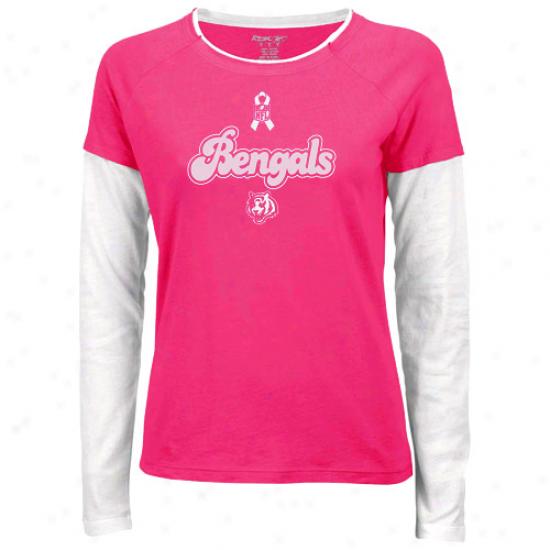 Cincinnati Bengal Tshiets : Reebok Cincinnati Bengal Ladies Pink Breast Cancer Awareness Script Long Sleeve Layered Tshirts