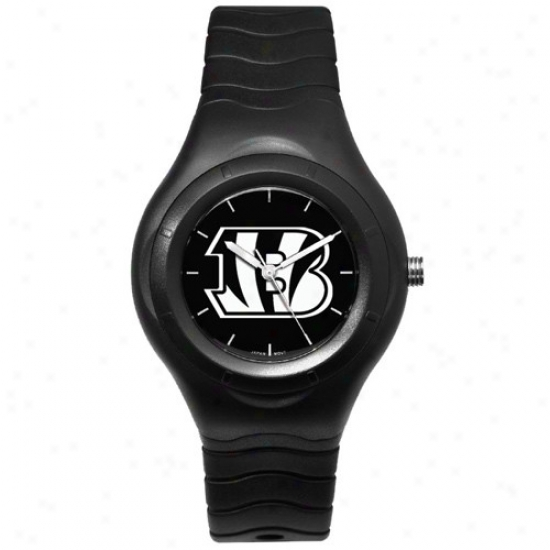 Cincinnati Bengal Watches : Cincinnati Bengal Black Shadow Team Logp S0ort Watches
