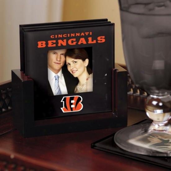 Cincinnati Bengals Black 4-pack Photo Coaster Set