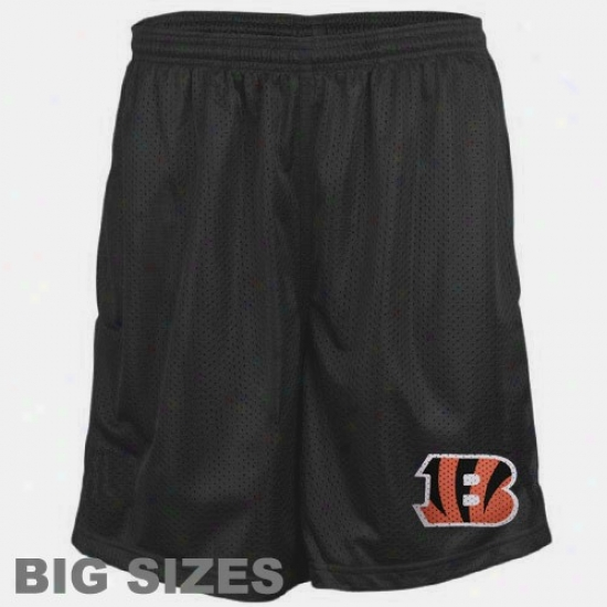 Cincinnati Bengals Black Full Sizes Team Logo Mesh Shorts
