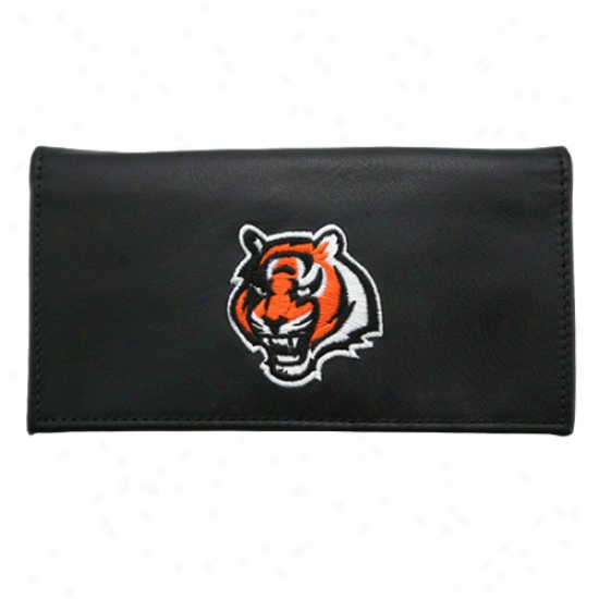 Cincinnati Bengals Black Embroidered Leather Checkbook Cover