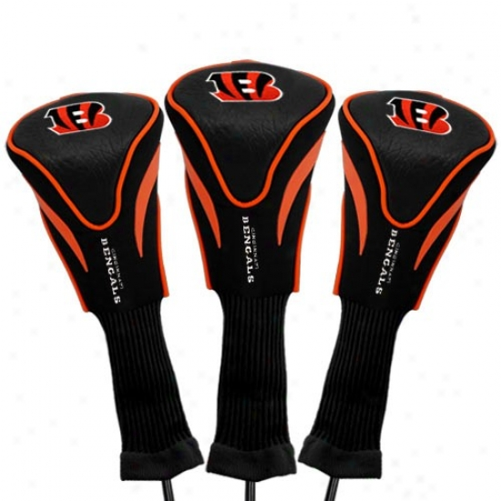 Cincinnati Bengals Black-orange 3-pack Contour FitG olf Club Headcovers