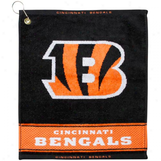 Cincinnati Bengals Black Woven Jacquard Golf Towel