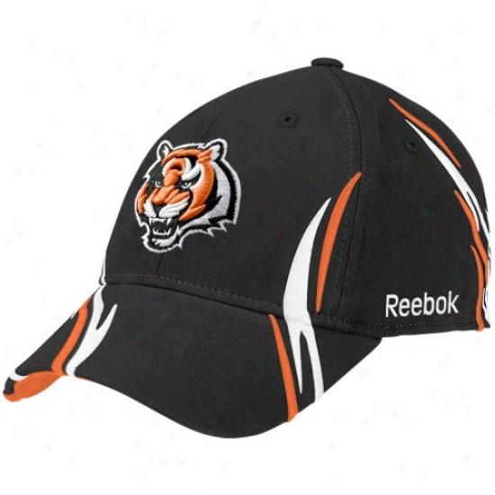 Cincinnati Bengals Cap : Reebok Cincinnati Bengals Black Tiller Structure Flex Fit Cap