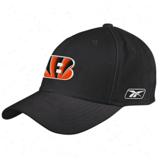Cincinnati Bengals Cap : Reebok Cincinnati Bengals Black Basic Logo Wool Blend Adjustable Cap