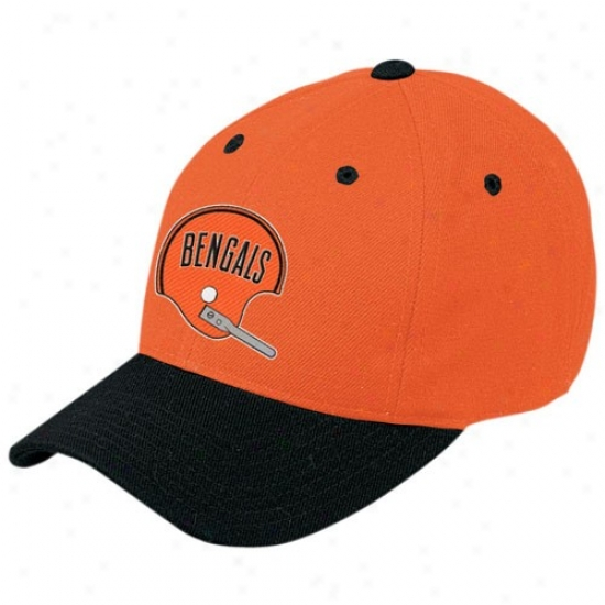 Cincinnati Bengals Gear: Reebok Cincinnati Bengals Orange Retro Logo Wool Blend Adjustable Hat