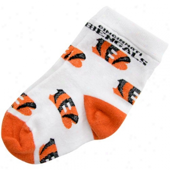 Cincinnati Bengals Infant White (0-13) All Over Team Logo Bootie Socks