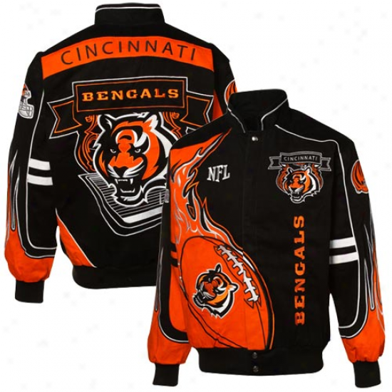 Cincinnati Bengals Jackets : Mitchell & Ness Cincinnati Bengals Orange-black Redzone Cotton-wool Twill Full Button Jackets