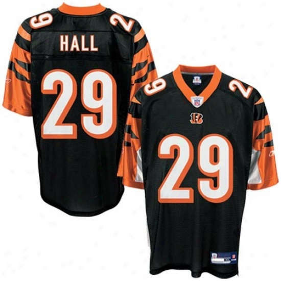 Cincinnati Bengals Jersey : Reebok Cincinnati Bengals #29 Leon Hall Black Replica Football Jersey