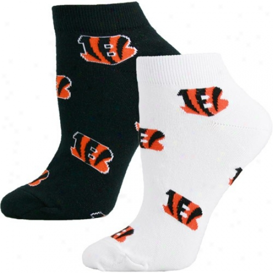Cincinnati Bengals Ladies White-black Two-pack Socks