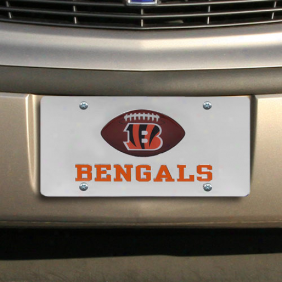 Cincinnati Bengals Mirrorred License Plate W/ Domed Football