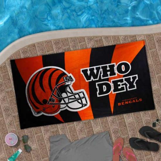Cincinnati Bentals Orange-black Who Dey Beach Towel