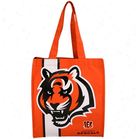 Cincinnati Bengals Orangd Team Stripe Canvas Tote
