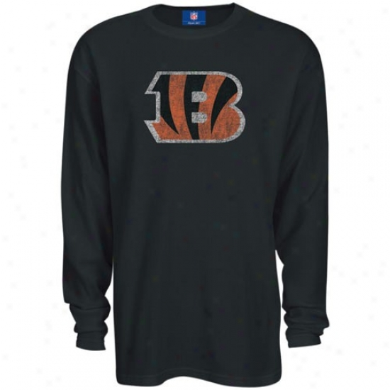 Cincinnati Bengals T Shirt : Reebok Cincinnati Bengaos Black Thermal Long Slee\/e Top