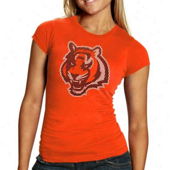 Cincinnati Bengals Tees : Reebok Cincinnati Bengals Ladies Orange Spiro Foil Logo Tees