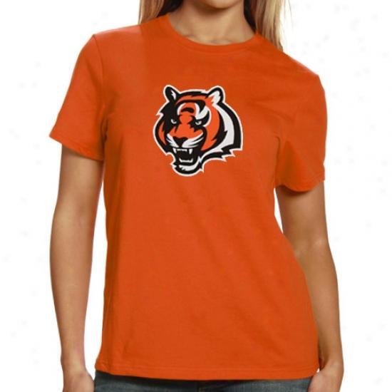 Ckncinnati Bengals Tees : Reebok Cincinnati Bengals Ladies Orange Logo Premier Tees