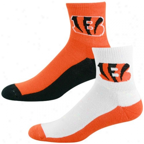 Cincinnati Bengals Tri-color Two-pack Quarter Socks